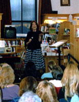 Barbara speaking to a crowd